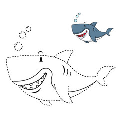 educational game for kids and coloring book-shark vector image vector image