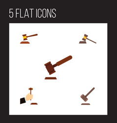 Flat icon court set of justice tribunal court vector