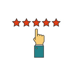 Giving five stars raiting flat line icon vector