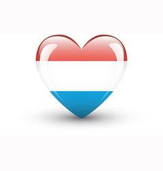 Heart-shaped icon with national flag of Luxembourg vector image vector image