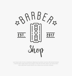 hipster logo for barber shop with blade vector image vector image
