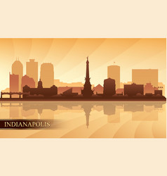 indianapolis city skyline silhouette background vector image