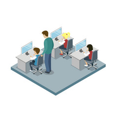 Informatics lesson at school isometric icon vector