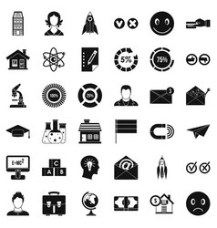 internet learning icons set simple style vector image
