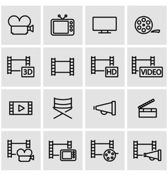 line movie icon set vector image vector image