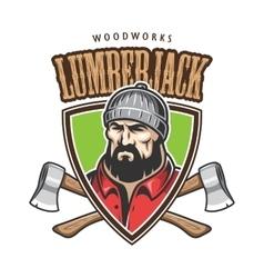 lumberjack emblem vector image vector image