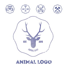 Polygonal hipster logo with head of deer in violet vector