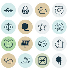 Set of 16 ecology icons includes cloud cumulus vector