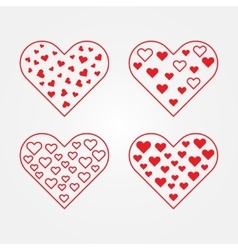 Set of heart symbols vector image vector image