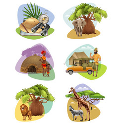 Set of mini compositions on safari theme vector