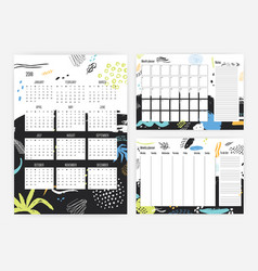 set of year 2018 calendar month and weekly vector image
