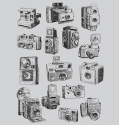 Sketchy vintage camera set vector