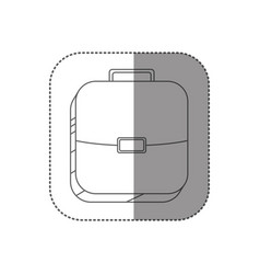 Sticker square silhouette button with briefcase vector