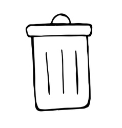 trash bin in doodle style hand drawn vector image vector image