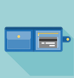 wallet with credit card vector image vector image