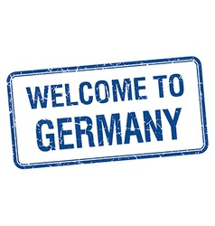 welcome to Germany blue grunge square stamp vector image
