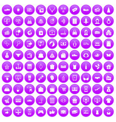 100 online shopping icons set purple vector image