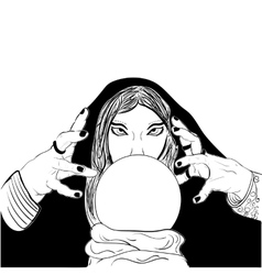 Sketchy woman fortune teller with crystal ball vector