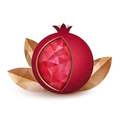 Ripe pomegranate fruit and three golden leaves vector