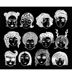 Doodle style set of diverse female faces vector