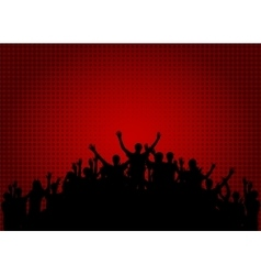 Crowd of happy satisfied people silhouettes vector