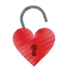 Drawing padlock shaped heart loved vector