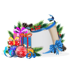 Paper scroll with blue bow gifts and christmas vector