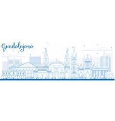 outline guadalajara skyline with blue buildings vector image