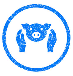 Pig care hands rounded grainy icon vector