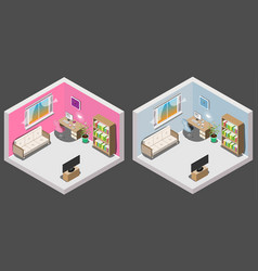 Isometric interior of room boy and girl vector
