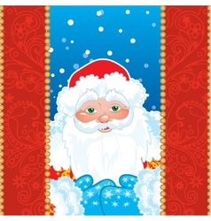 Grandfather frost santa claus in red frame with vector