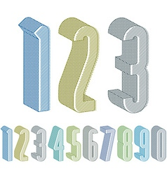 3d extra tall numbers set with lines textures vector
