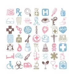 49 hand drawing doodle different icon set medical vector