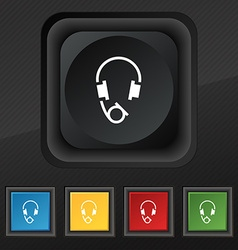 Headsets icon symbol set of five colorful stylish vector