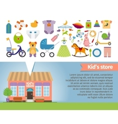 Kids shop childrens clothing and toys vector