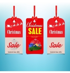 Set of three sale christmas labels vector