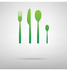 Fork spoon knife green icon vector