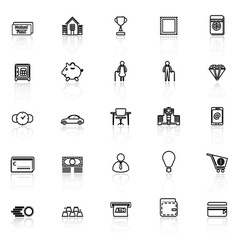 Personal financial line icons with reflect on vector