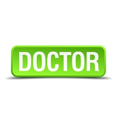 Doctor green 3d realistic square isolated button vector