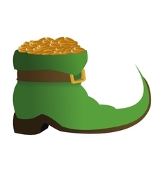 Leprechaun boots with gold coins icon vector