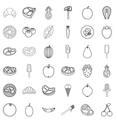 breakfast icons set outline style vector image