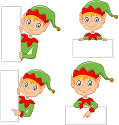 Cartoon cute elf with blank vector image vector image