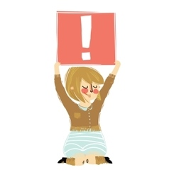 Cartoon girl holding the exclamation point vector image