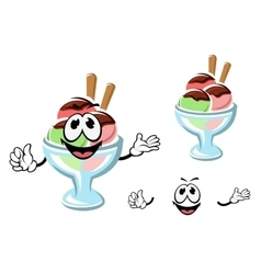 Cartoon ice cream on a glass vector image vector image