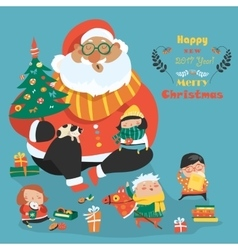 Cartoon Santa with kids vector image vector image