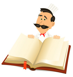 Chef cook holding recipes book vector