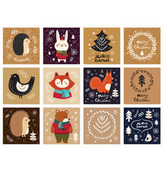 collection of christmas cards vector image vector image