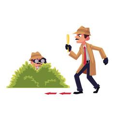 Detective character doing surveillance work vector