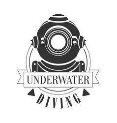 Diving underwater vintage logo black and white vector