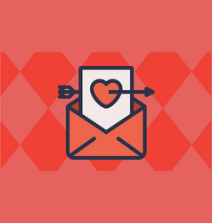 Envelope and heart letter with cupids arrow vector